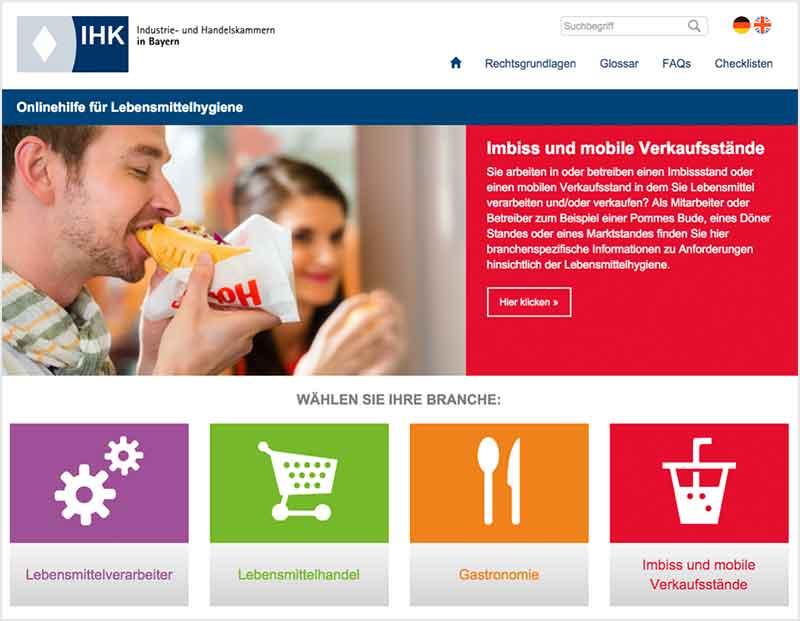 Onlinehilfe für Lebensmittelhygiene