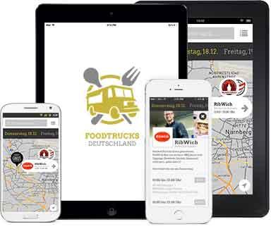 Foodtrucks App auf verschiedenen Endgeräten